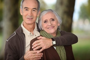older couple embracing